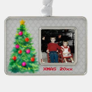 """8-Bit Christmas Tree"" Photo Ornament (Grey)"