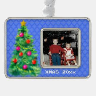 """8-Bit Christmas Tree"" Photo Ornament (Lt Blue)"