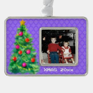 """8-Bit Christmas Tree"" Photo Ornament (Lt Purple)"