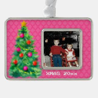 """8-Bit Christmas Tree"" Photo Ornament (Pink)"
