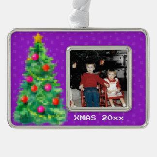 """8-Bit Christmas Tree"" Photo Ornament (Purple)"