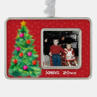 """8-Bit Christmas Tree"" Photo Ornament (Red)"
