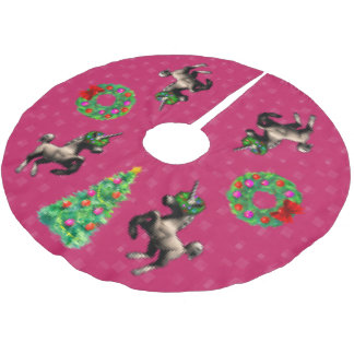 """8-Bit Christmas"" Tree Skirt (Dark Pink)"