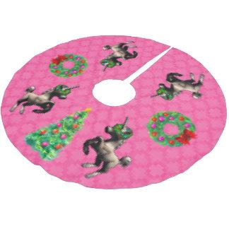 """""""8-Bit Christmas"""" Tree Skirt (Pink)"""