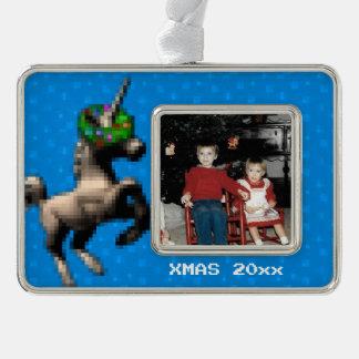 """8-Bit Christmas Unicorn"" Photo Ornament (Blue)"