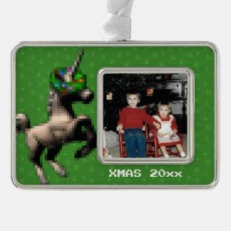 """8-Bit Christmas Unicorn"" Photo Ornament (Green)"