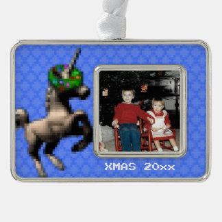 """8-Bit Christmas Unicorn"" Photo Ornament (Lt Blue)"