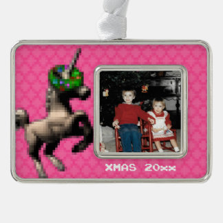 """8-Bit Christmas Unicorn"" Photo Ornament (Lt Pink)"