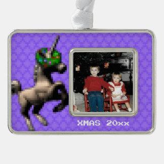 """8-Bit Christmas Unicorn"" Photo Ornament (Lt Purp)"