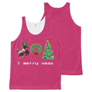 """8-Bit Christmas"" Unisex Tank Top (Bright Pink)"