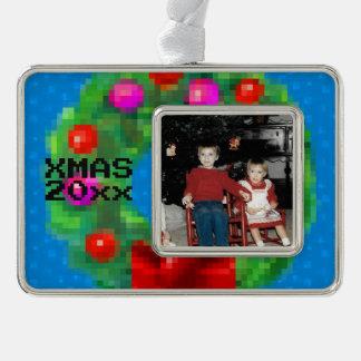 """8-Bit Christmas Wreath"" Photo Ornament (Blue)"