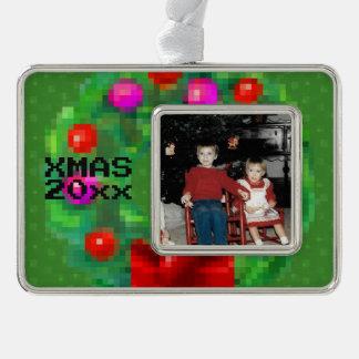 """8-Bit Christmas Wreath"" Photo Ornament (Green)"