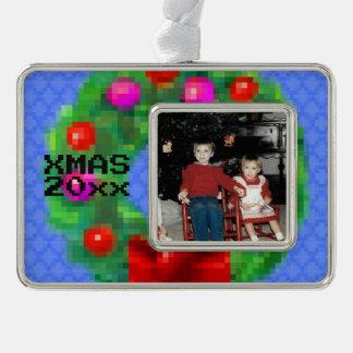 """8-Bit Christmas Wreath"" Photo Ornament (Lt Blue)"