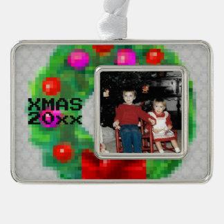 """8-Bit Christmas Wreath"" Photo Ornament (Lt Grey)"