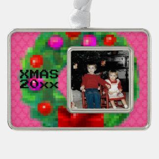 """8-Bit Christmas Wreath"" Photo Ornament (Lt Pink)"