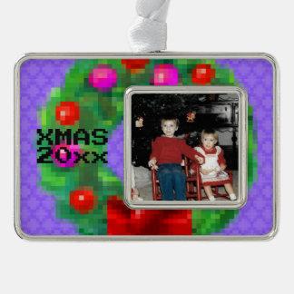 """8-Bit Christmas Wreath"" Photo Ornament (Lt Purpl)"