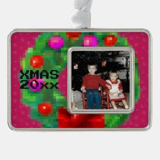 """8-Bit Christmas Wreath"" Photo Ornament (Pink)"