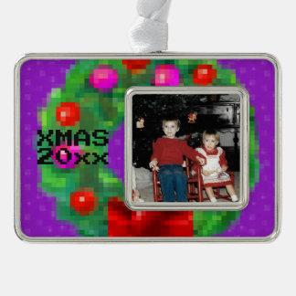 """8-Bit Christmas Wreath"" Photo Ornament (Purple)"