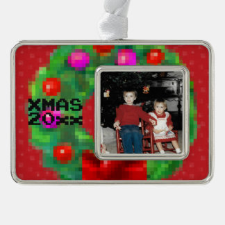 """8-Bit Christmas Wreath"" Photo Ornament (Red)"