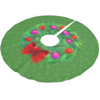 """8-Bit Christmas Wreath"" Tree Skirt (Green)"