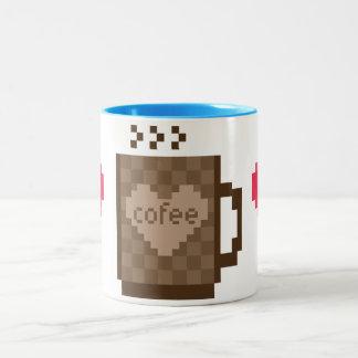 8 bit coffee hearts Valentines day Two-Tone Mug