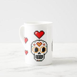 8-Bit Day of the Dead Lovers Skull Heart Mug