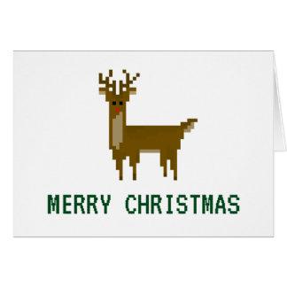 8-bit Geek Pixel Christmas Holiday Reindeer Card