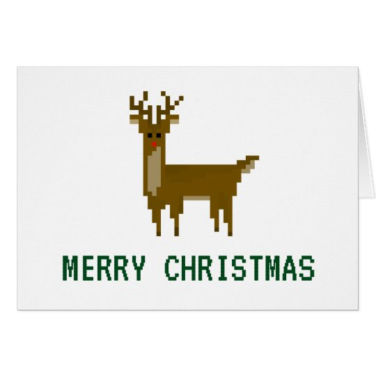 8-bit Geek Pixel Christmas Holiday Reindeer Card