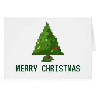 8-bit Geek Pixel Christmas Holiday Tree Card