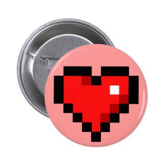 8-bit heart 6 cm round badge