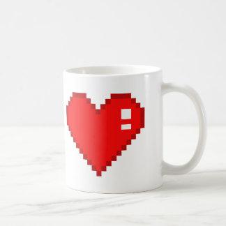 8 Bit Heart Basic White Mug