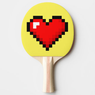 8-Bit Heart: Classic Retro Gamer Ping Pong Paddle