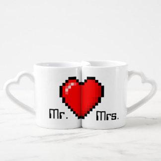 8 Bit Heart Gamer Couple Coffee Mugs Lovers Mug