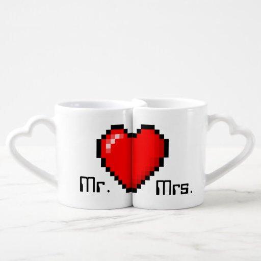 8 Bit Heart Gamer Couple Coffee Mugs Lovers Mugs