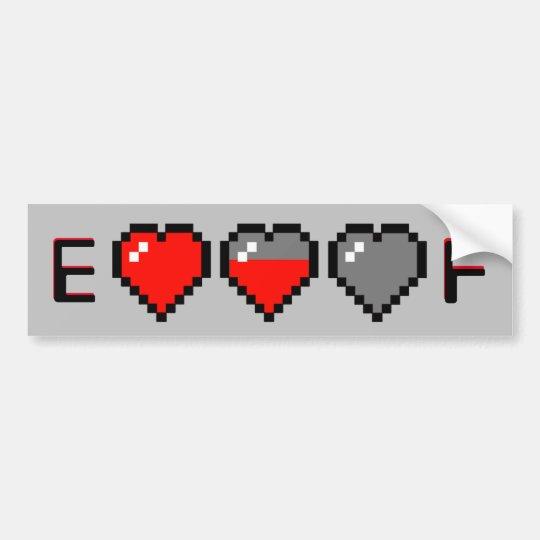 8-Bit Heart Metre Gas Guage Bumper Sticker