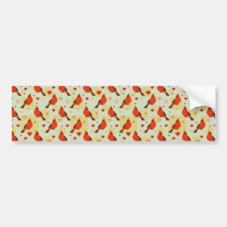 8-bit Hearts and Cardinals Pattern Bumper Stickers