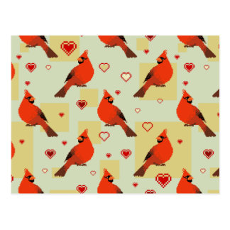 8-bit Hearts and Cardinals Pattern Postcard
