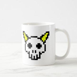 8 Bit Horned Skull Basic White Mug
