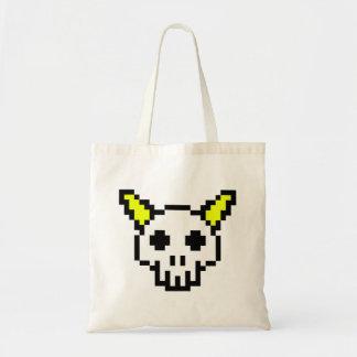8 Bit Horned Skull Budget Tote Bag