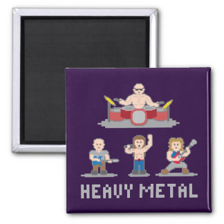 8 Bit Metal Band Magnet 2 Inch Square Magnet