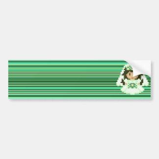 8-bit Pixel Bride Green Stripes Bumper Stickers