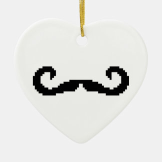 8 Bit Pixel Handlebar Moustache Christmas Ornament