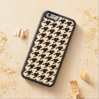 8 Bit Pixel Houndstooth Check Pattern Carved Maple iPhone 6 Bumper Case