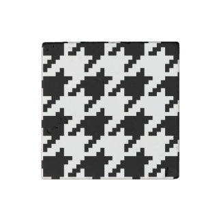 8 Bit Pixel Houndstooth Check Pattern Stone Magnet