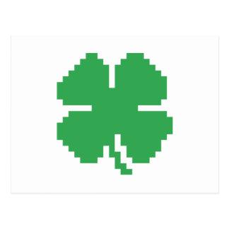 8 Bit Pixel Lucky Four Leaf Clover Postcard