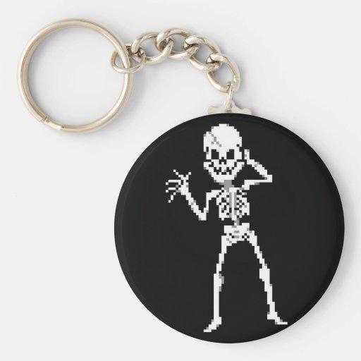 8-bit Pixel Skeleton Sprite Key Chains