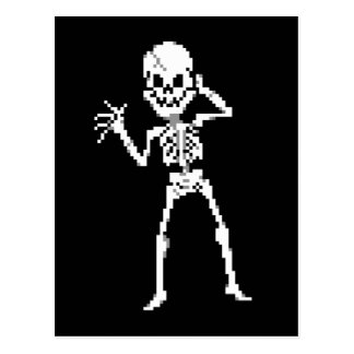 8-bit Pixel Skeleton Sprite Postcard