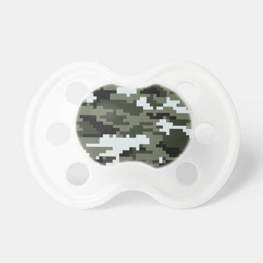 8 Bit Pixel Urban Camouflage Baby Pacifier