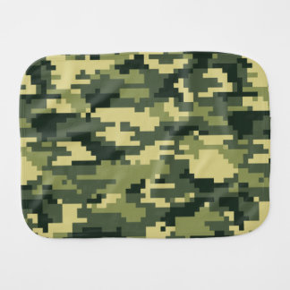 8 Bit Pixel Woodland Camouflage / Camo Baby Burp Cloths