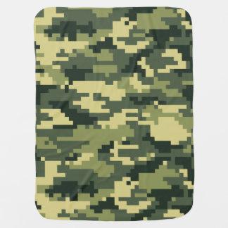 8 Bit Pixel Woodland Camouflage Receiving Blankets